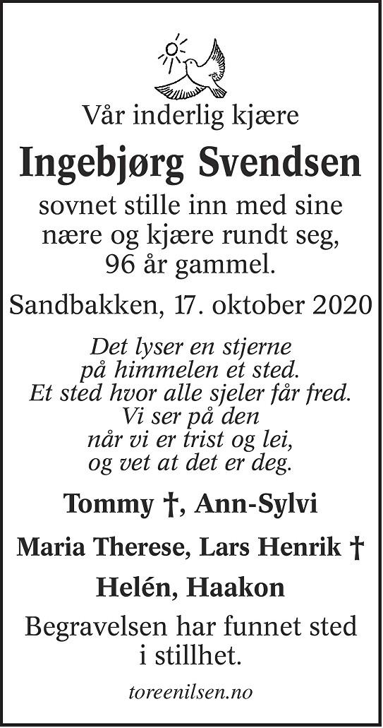 Ingebjørg Aslaug Svendsen Dødsannonse