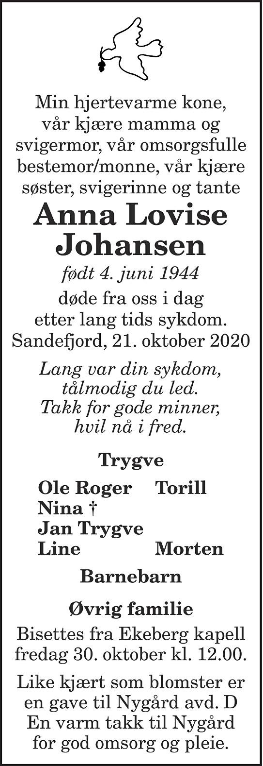Anna Lovise Johansen Dødsannonse