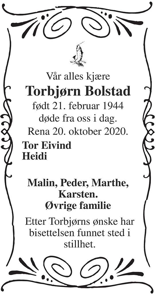Torbjørn Bolstad Dødsannonse