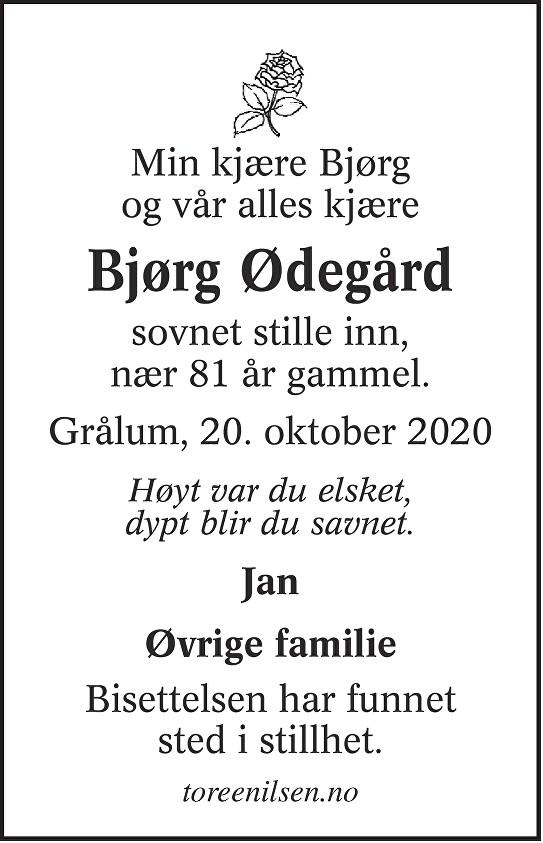 Bjørg Ødegård Dødsannonse