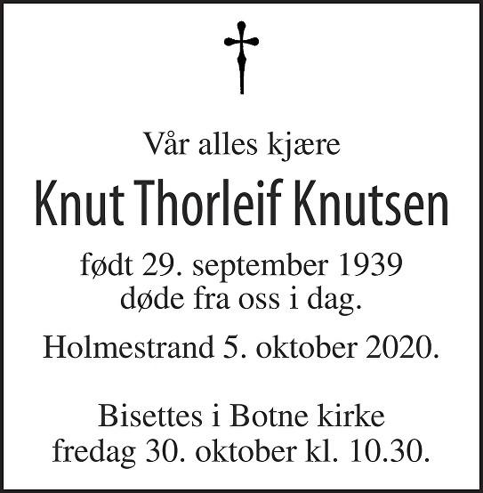Knut Thorleif  Knutsen Dødsannonse