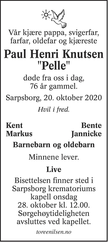 Paul Henri Knutsen Dødsannonse