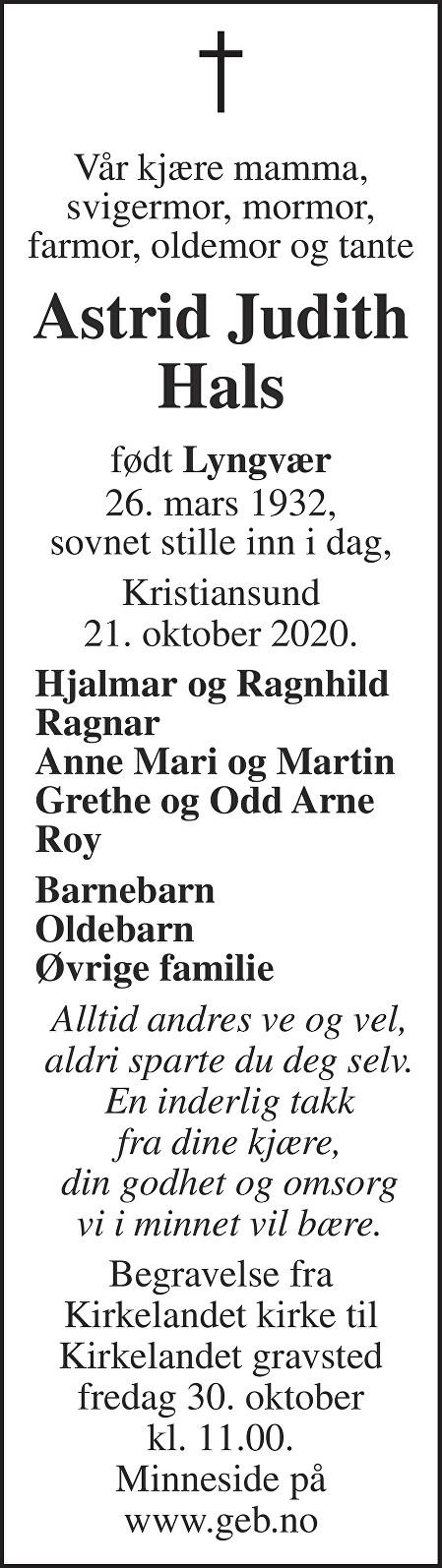 Astrid Judith Hals Dødsannonse