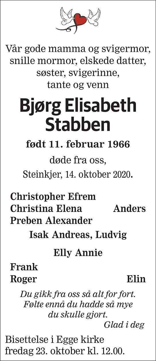 Bjørg Elisabeth Stabben Dødsannonse