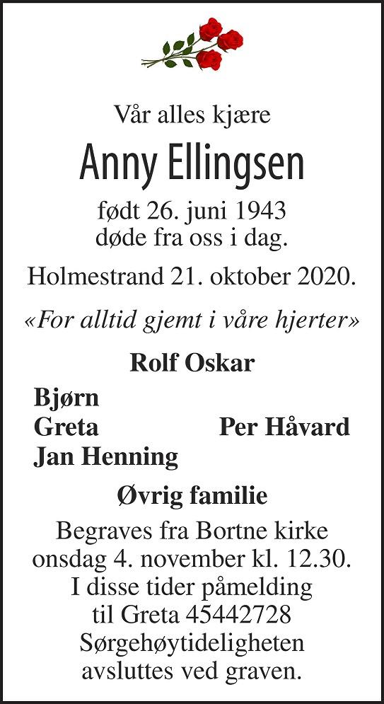 Anny Ellingsen Dødsannonse