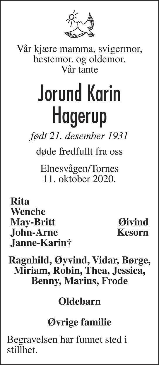Jorund Karin Hagerup Dødsannonse