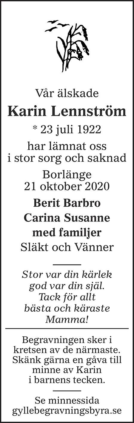 Karin Lennström Death notice