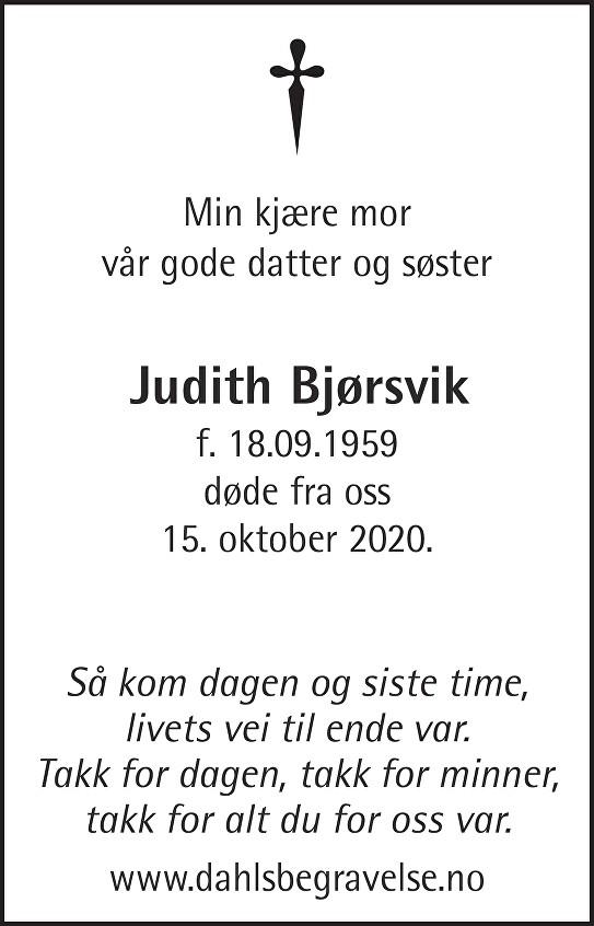 Judith Bjørsvik Dødsannonse