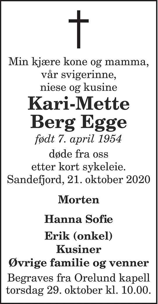 Kari-Mette Berg Egge Dødsannonse