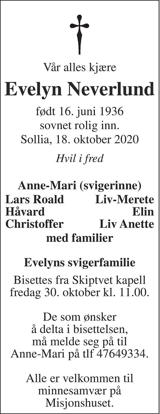 Evelyn Neverlund Dødsannonse