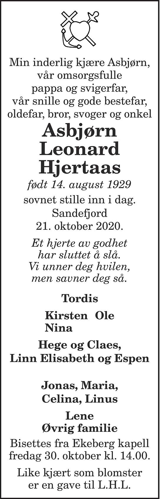 Asbjørn Leonard Hjertaas Dødsannonse