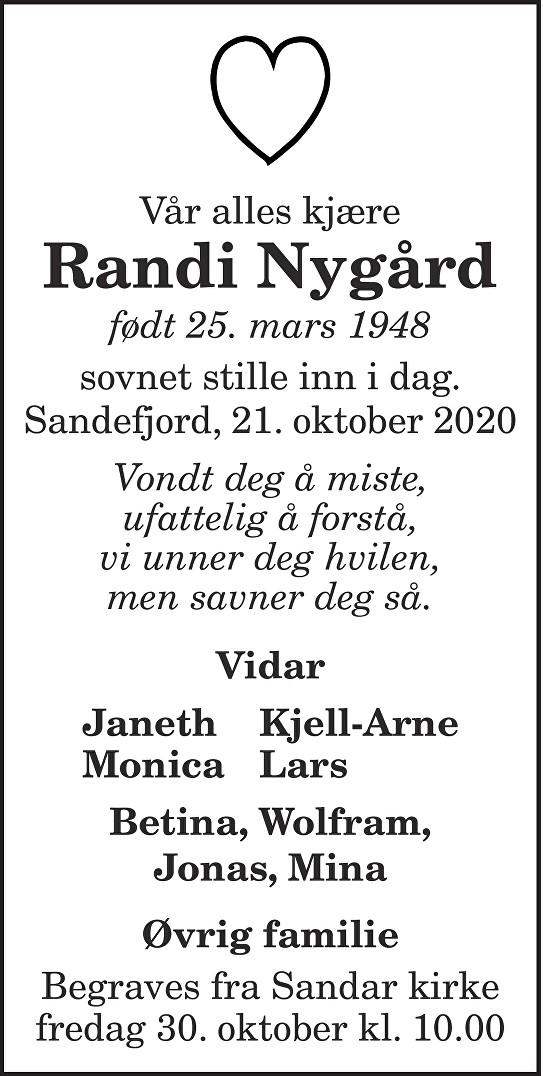 Randi Nygård Dødsannonse