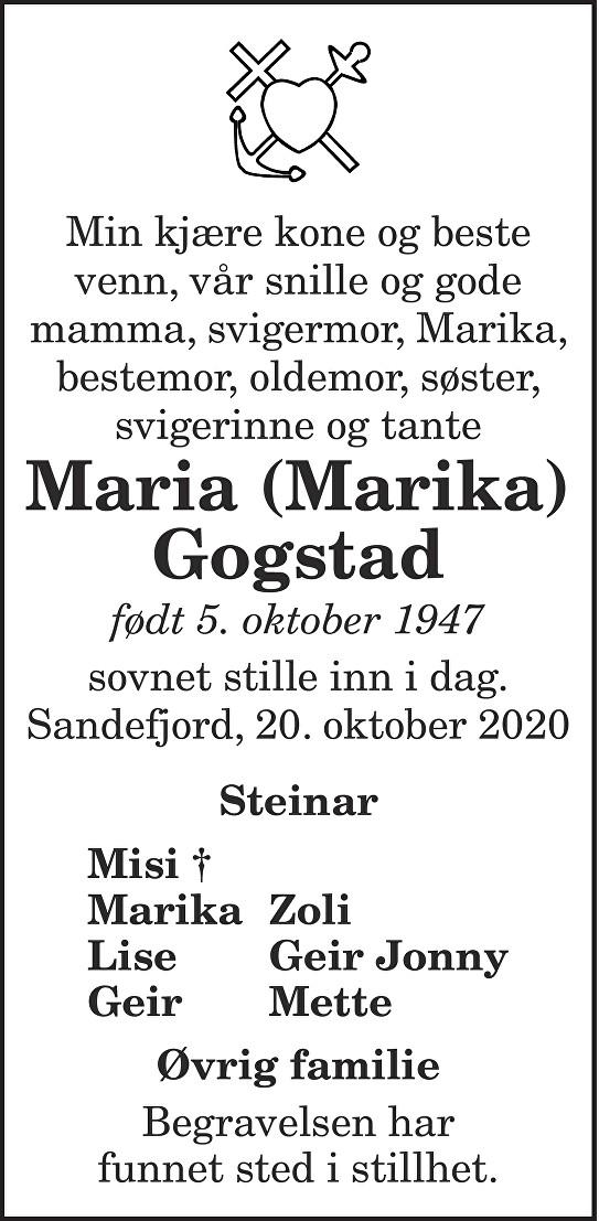 Maria (Marika) Gogstad Dødsannonse