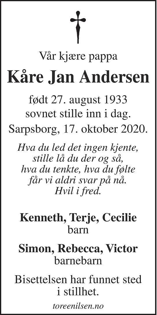 Kåre Jan Andersen Dødsannonse