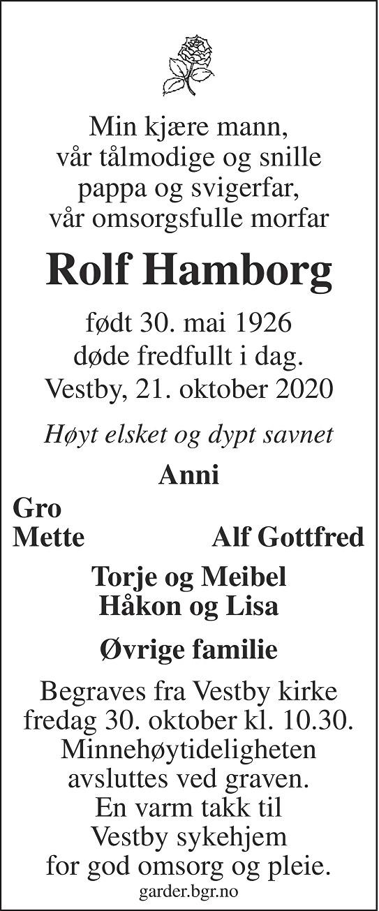 Rolf Hamborg Dødsannonse