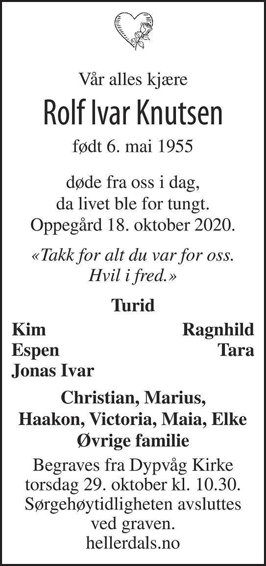 Rolf Ivar  Knutsen Dødsannonse