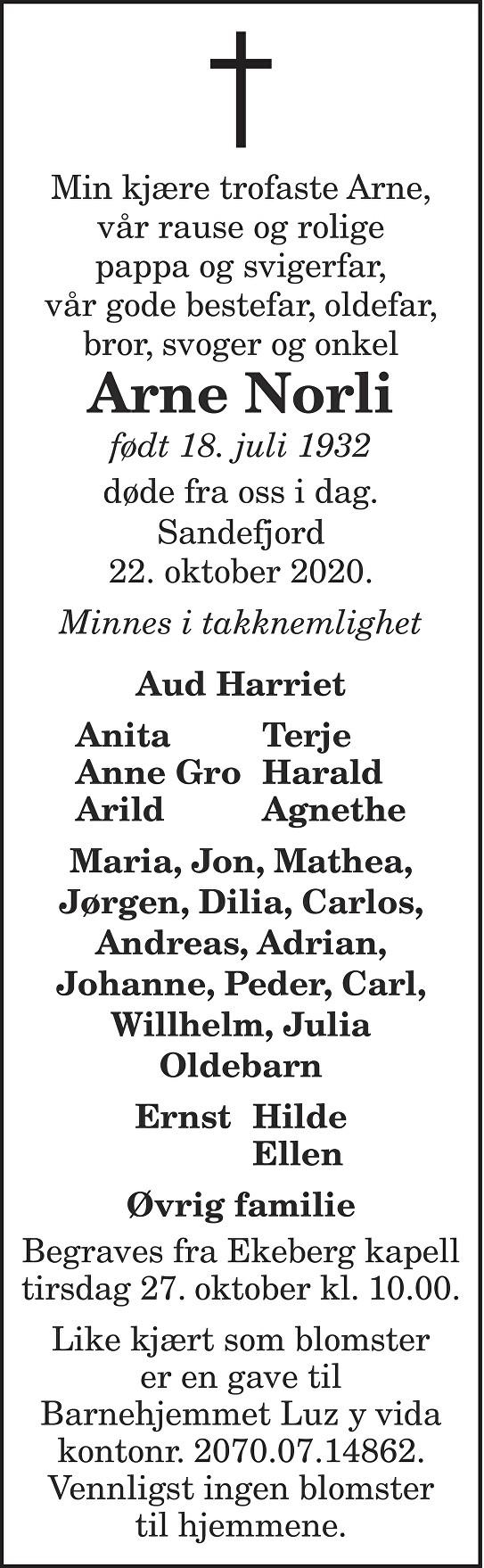 Arne Norli Dødsannonse