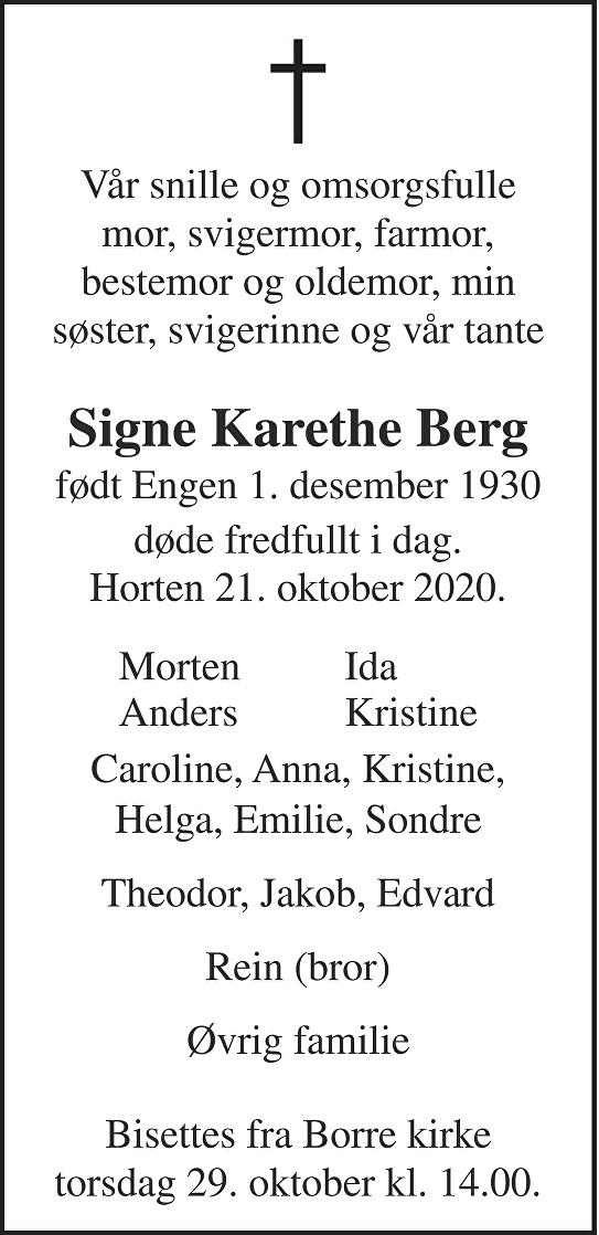 Signe Karethe Berg Dødsannonse