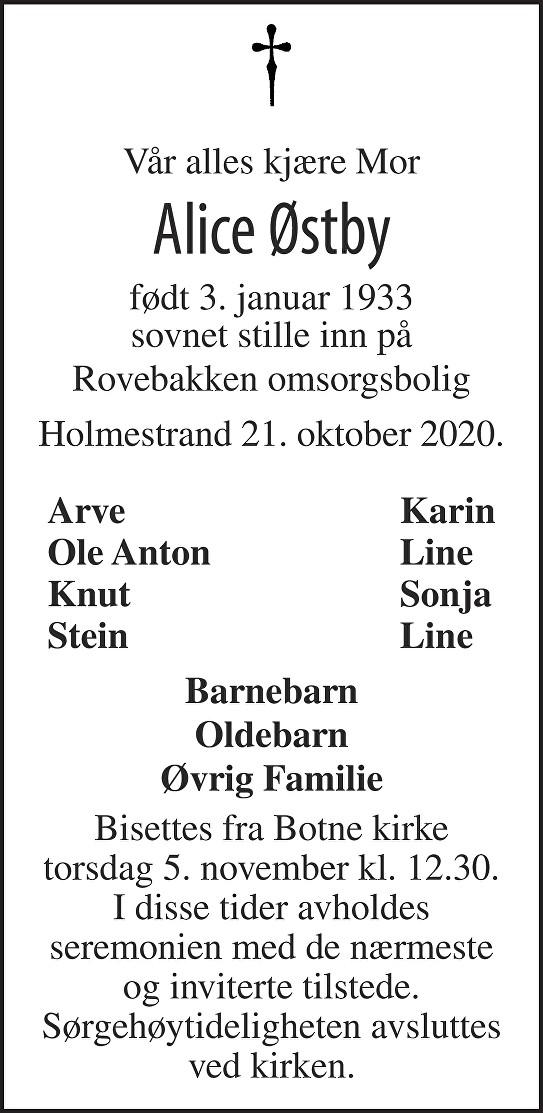 Alice Østby Dødsannonse