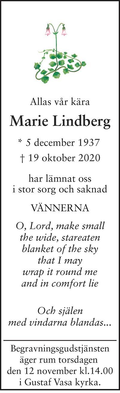 Marie Lindberg Death notice