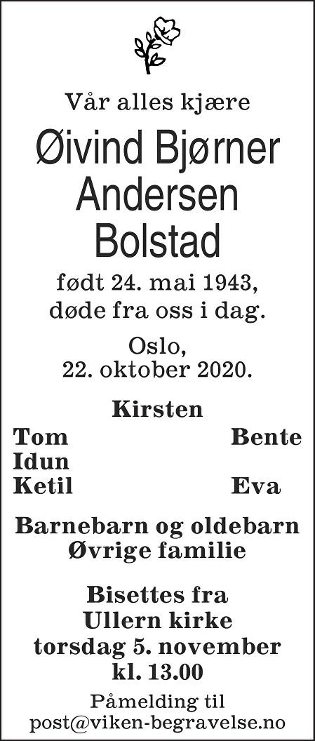 Øivind Bjørner Andersen Bolstad Dødsannonse