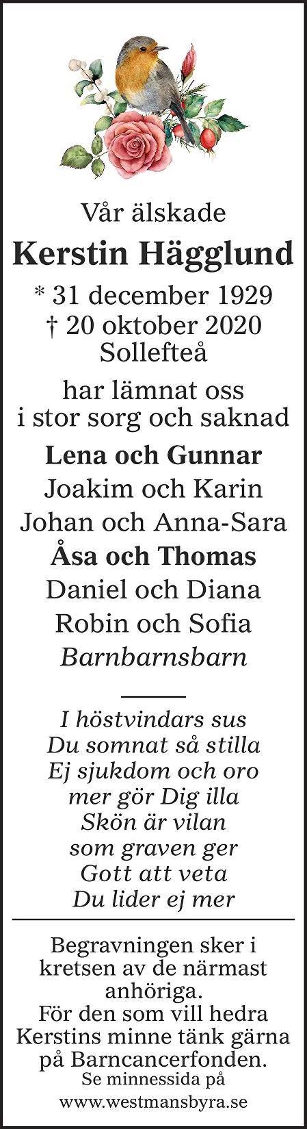 Kerstin Hägglund Death notice