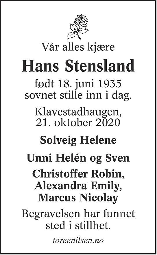 Hans Stensland Dødsannonse