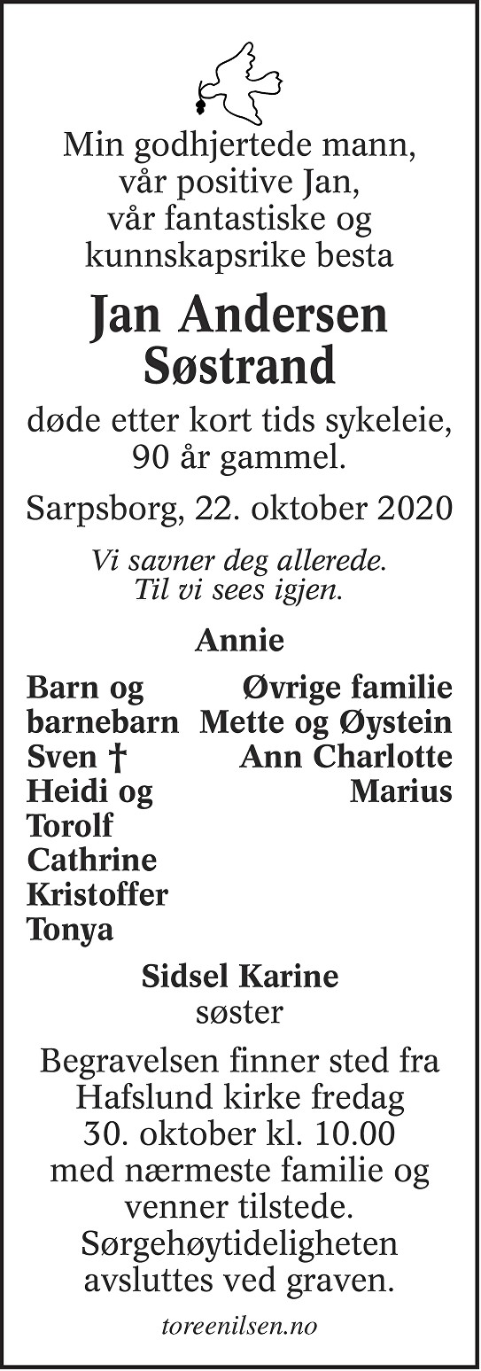 Jan Andersen Søstrand Dødsannonse