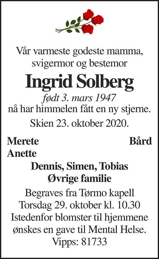 Ingrid Solberg Dødsannonse
