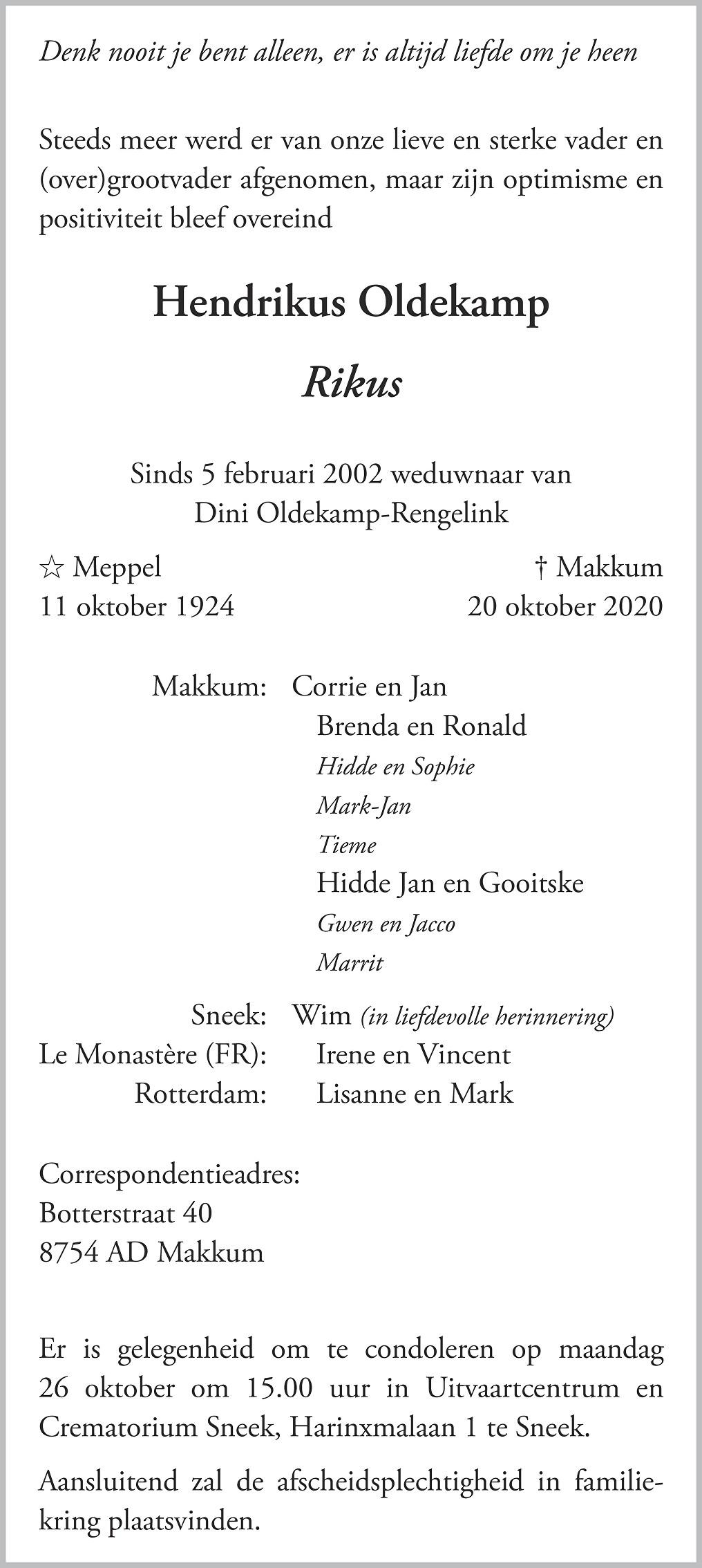 Hendrikus Oldekamp Death notice