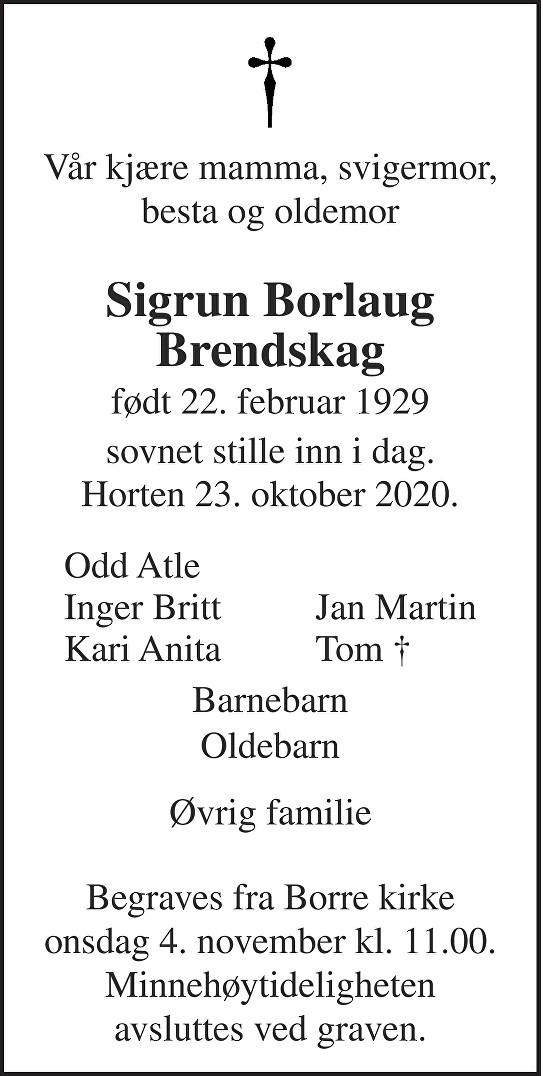 Sigrun Borlaug Brendskag Dødsannonse