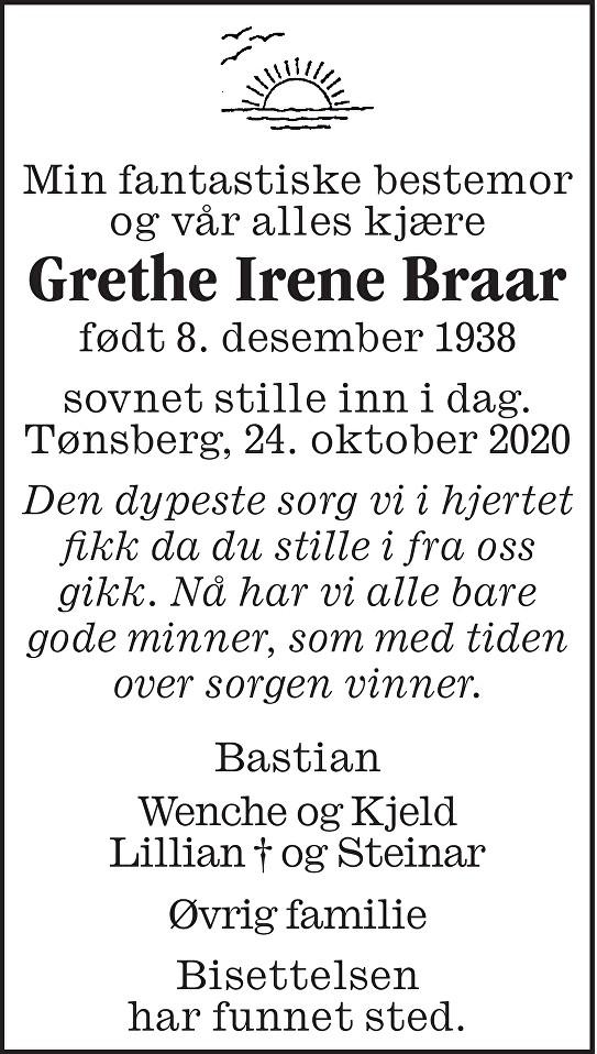 Grethe Irene Braar Dødsannonse