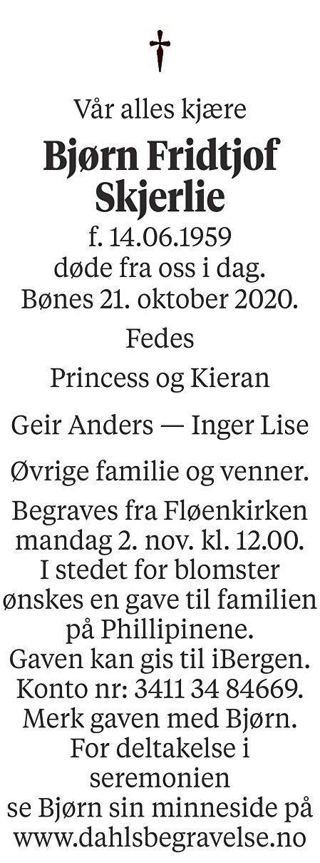Bjørn Fridtjof Skjerlie Dødsannonse