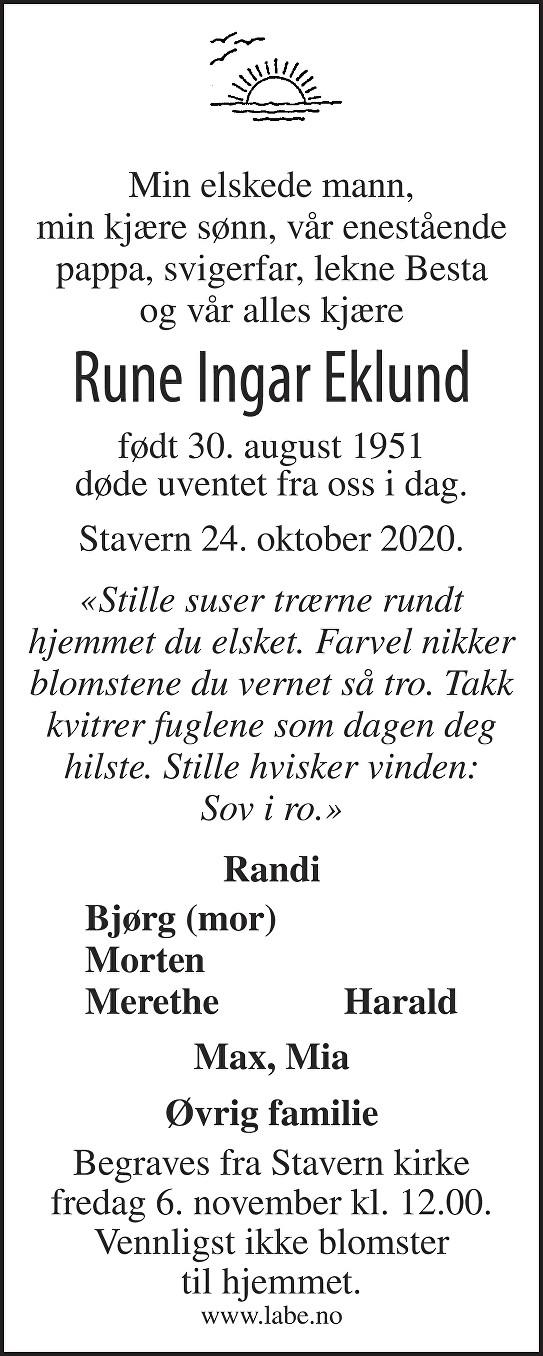 Rune Ingar Eklund Dødsannonse