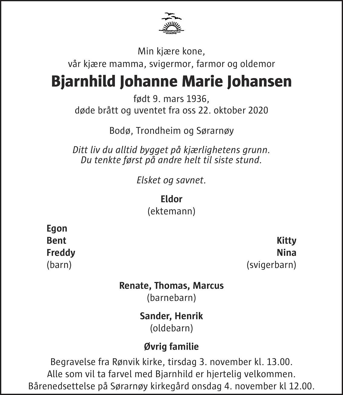 Bjarnhild Johanne Marie Johansen Dødsannonse