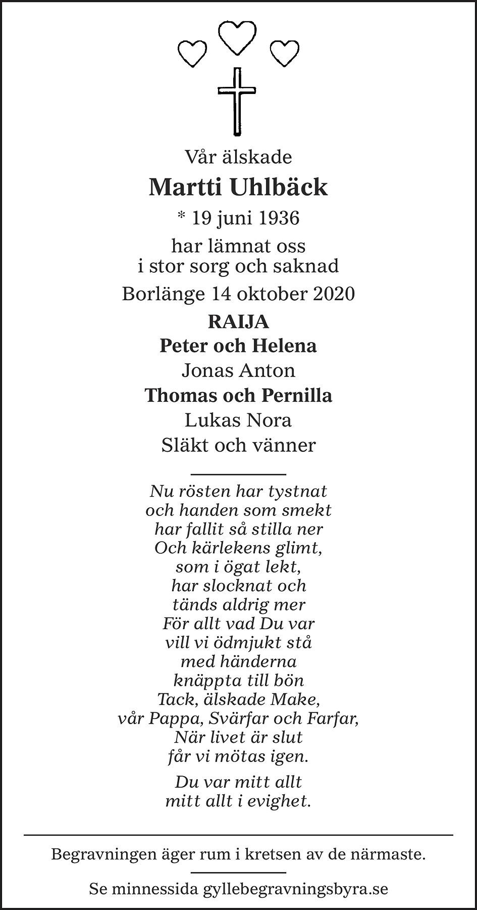 Martti Uhlbäck Death notice