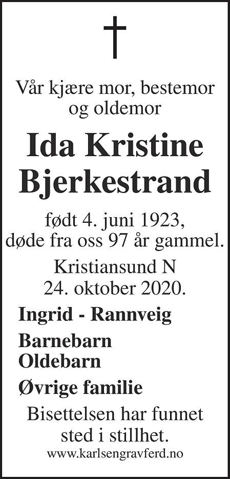 Ida Kristine Bjerkestrand Dødsannonse