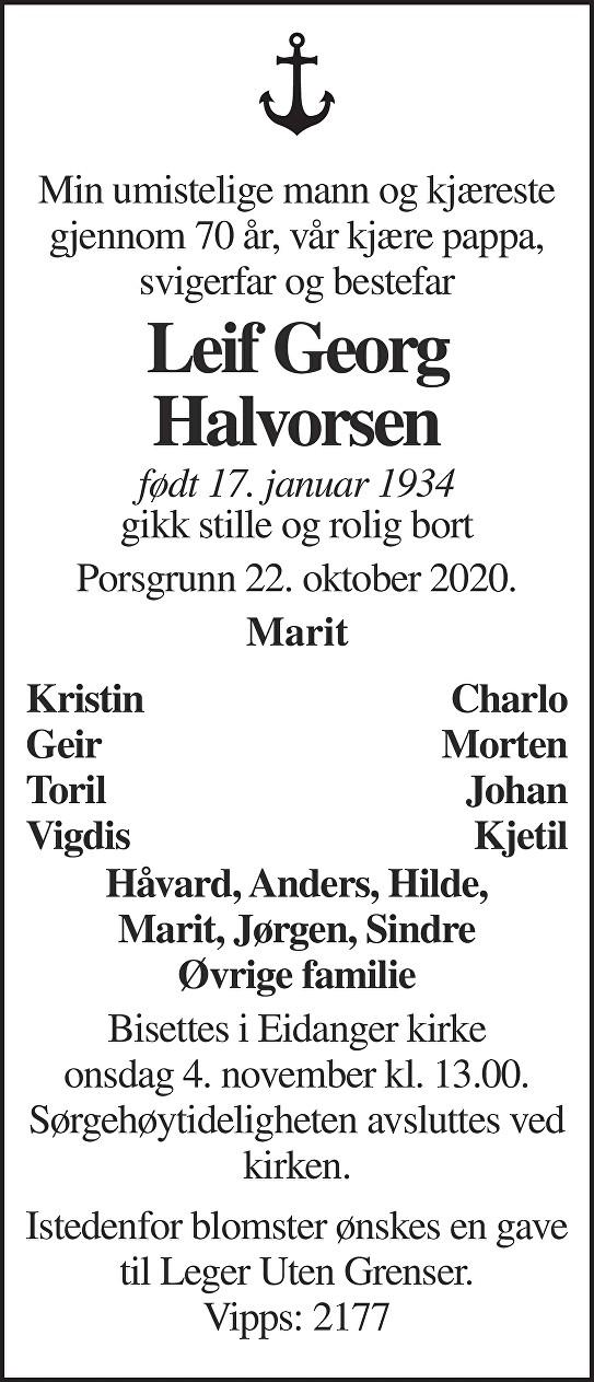 Leif Georg Halvorsen Dødsannonse