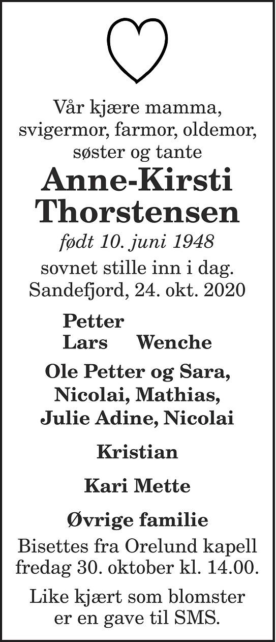 Anne-Kirsti Thorstensen Dødsannonse