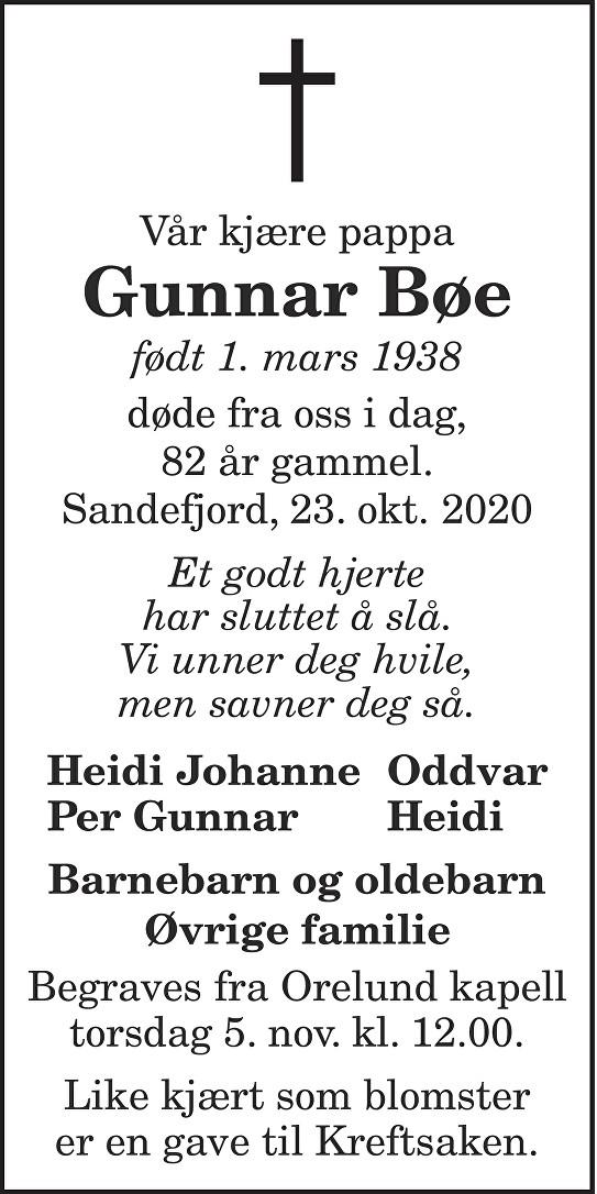 Gunnar Bøe Dødsannonse