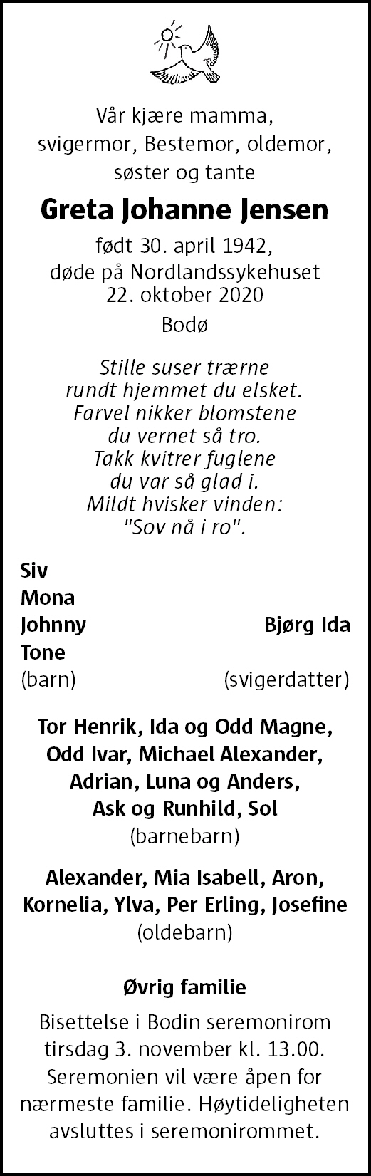 Greta Johanne Jensen Dødsannonse