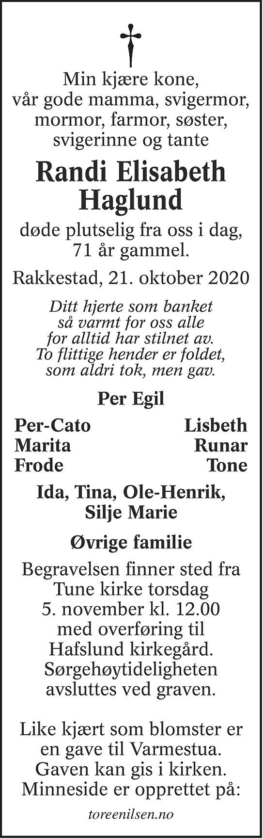 Randi Elisabeth Haglund Dødsannonse