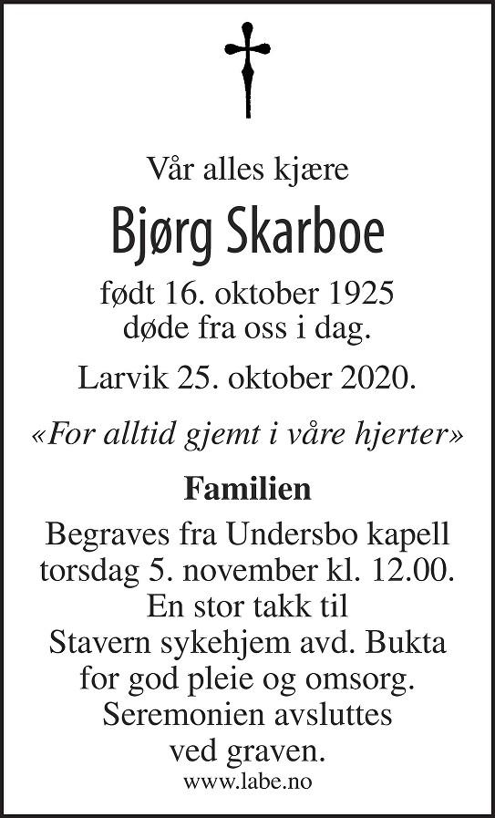 Bjørg Skarboe Dødsannonse