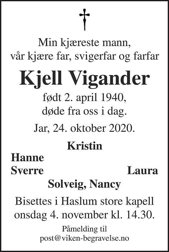 Kjell Vigander Dødsannonse