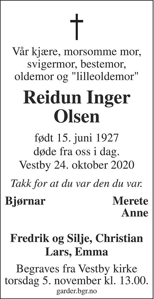 Reidun Inger Olsen Dødsannonse