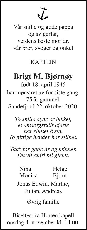 Brigt Magne Bjørnøy Dødsannonse