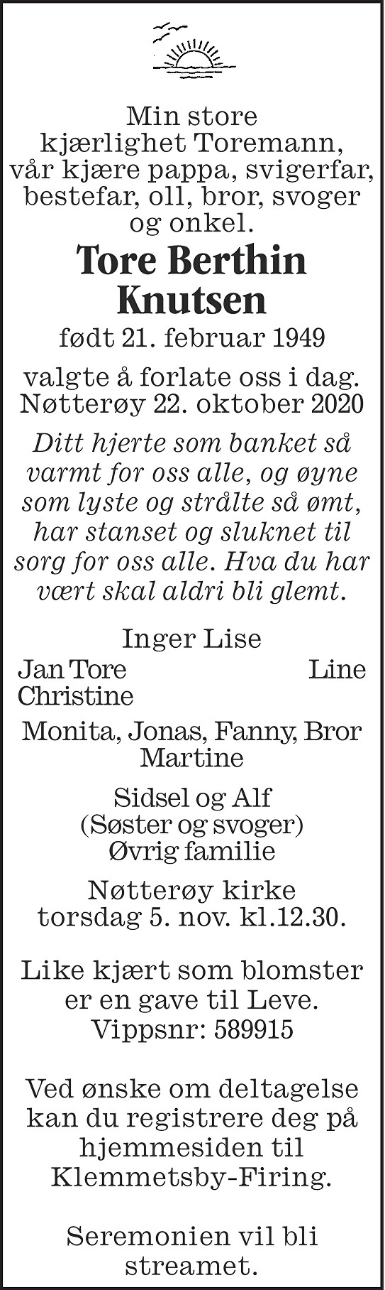 Tore Berthin Knutsen Dødsannonse