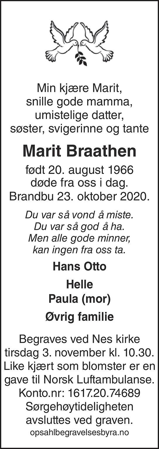 Marit Braathen Dødsannonse