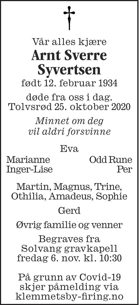 Arnt Sverre Syvertsen Dødsannonse