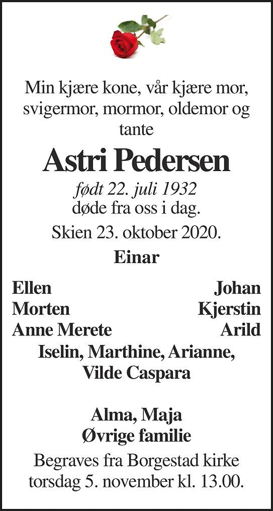 Astri Pedersen Dødsannonse